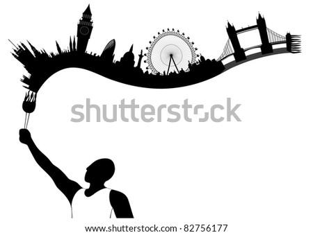 vector London skyline looks like undying flame