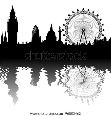 vector London skyline - mirroring