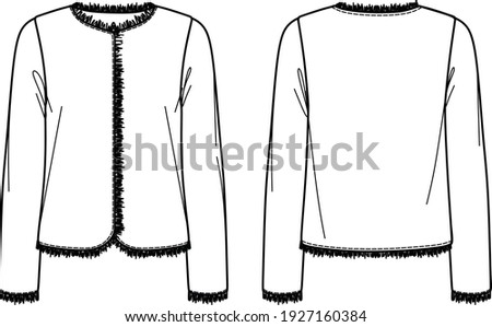 Vector long sleeved boucle jacket fashion CAD, woman tweed jacket with fringed trims technical drawing, template, sketch, flat. Jersey jacket with front, back view, white color Stockfoto ©