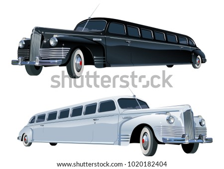Vector long vintage limo. Available EPS-10 vector format separated by groups and layers for easy edit