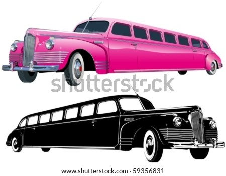 Vector long vintage limo color and monochrome version