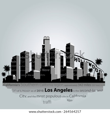 los angeles city silhouette 264564257