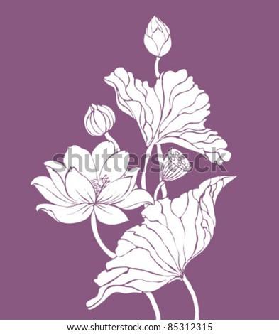 vector lotos on purple background