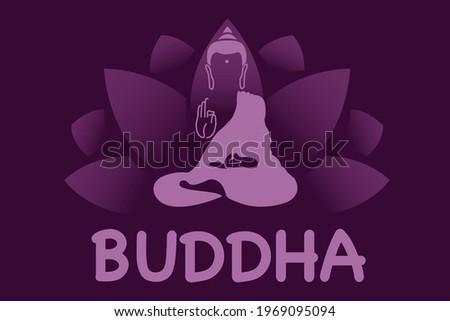 Vector Lotus and Lord Buddha. Symbol of buddha. Vesak day greeting background with lotus flower. Yoga, spirituality. Vector Buddha silhouette