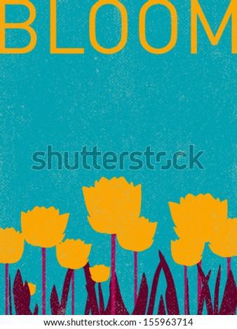 vector lotus flowers   retro