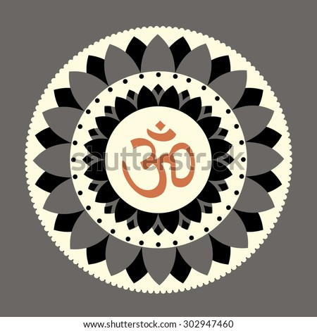 vector lotus mandala with om