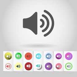 Vector loud sound icon and big set of round flat web mobile buttons on paper background