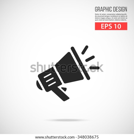 Vector loudspeaker icon. Black icon. Modern flat design vector illustration, quality concept for web banners, web and mobile applications, infographics. Vector icon isolated on gradient background