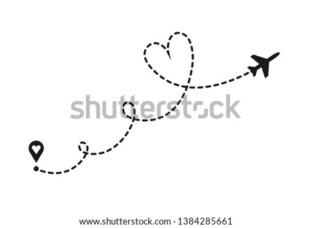 Vector love airplane route. Air plane flight route with start point and dash line trace. Romantic travel, heart dashed path isolated on transparent background.