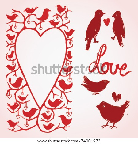 Love Bird Picture Frames Vector Love Birds Heart Frame