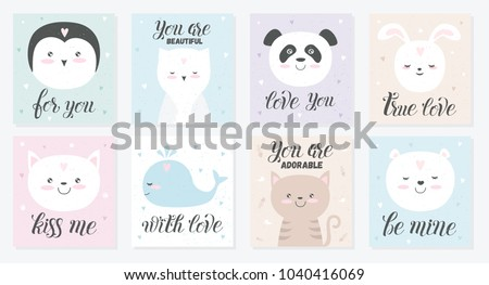 Vector love cards of cute animals. Poster with adorable objects on texture background, pastel colors. Valentine's day, anniversary, save the date, baby shower, bridal, birthday