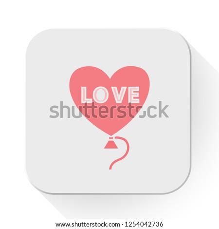 vector love concept. Flat illustration of heart balloon. romantic helium balloon isolated on white background. love balloon sign symbol. love icon