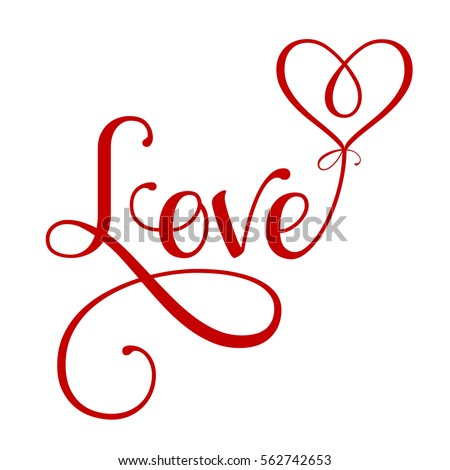"Vector ""Love"" inscription with heart"