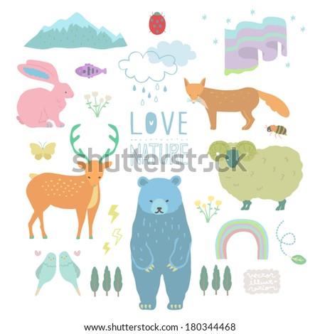 Vector Love Nature Illustrations set