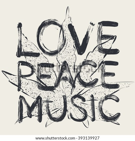 vector love peace music  t