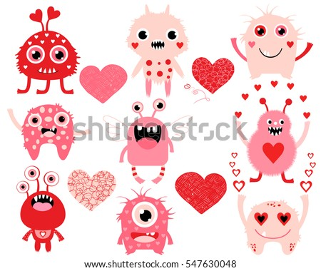 Vector Love Set Of Cute Valentines Day Monster Creatures And Hearts In Pink  And Red Colors