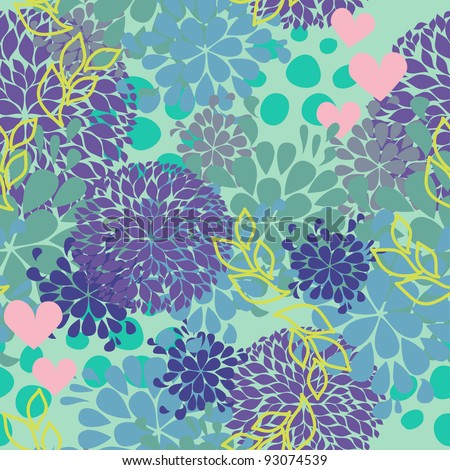 vector lovely background with floral ornate and hearts