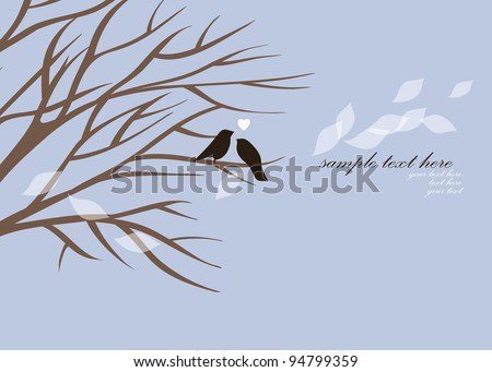 vector lovely birds sitting on a tree,