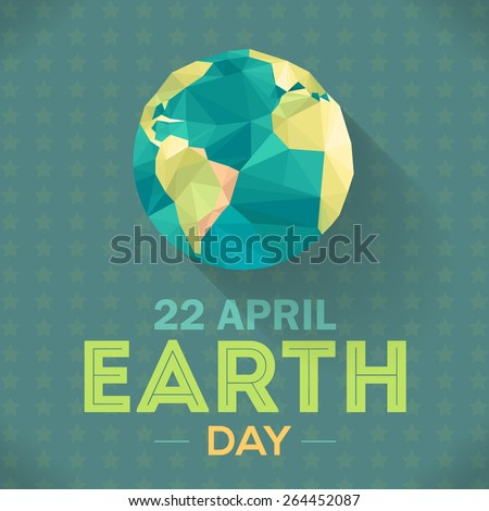 Vector Low Poly April 22 Earth Day Lettering and World Map