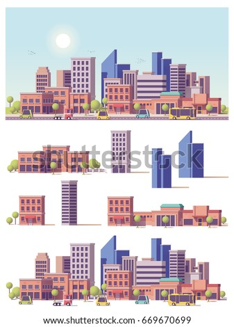 Vector low poly buildings and city scene