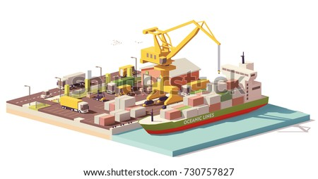 Vector low poly cargo port container terminal with crane, container ship and warehouse