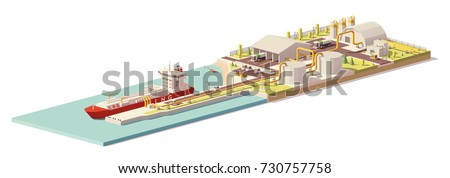Vector low poly cargo port LNG terminal with tanker ship and LNG plant infrastructure