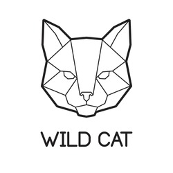 Vector low poly cat face logo design. Modern symmetrical polygonal kitty icon. Minimalistic line art of domestic pet. Can be used as icon, logo, brand design, wall art, tattoo, poster, card, pattern
