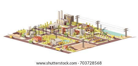 Vector low poly city waste management infrastructure. Includes collection, separation, landfill gas collection and recycling facilities