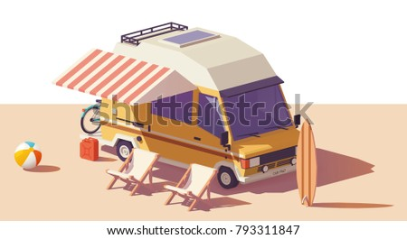 Vector low poly classic station RV camper van, deckchairs and surfing board
