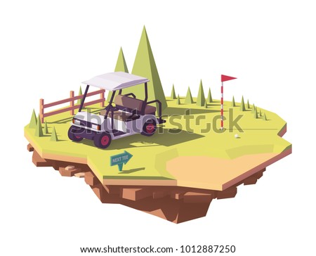 Vector low poly classic white golf cart on the golf course grass