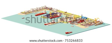 Vector low poly commercial sea port. Includes oil, coal, LNG, container terminals, dry dock, ships and industrial infrastructure elements