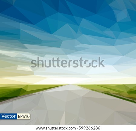 vector low poly country road in