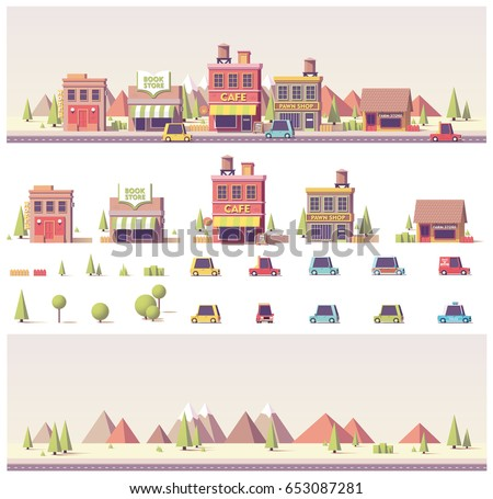 Vector low poly 2d  buildings and city scene game asset