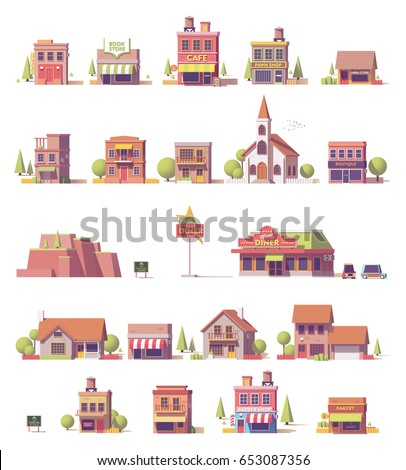 Vector low poly 2d buildings game asset