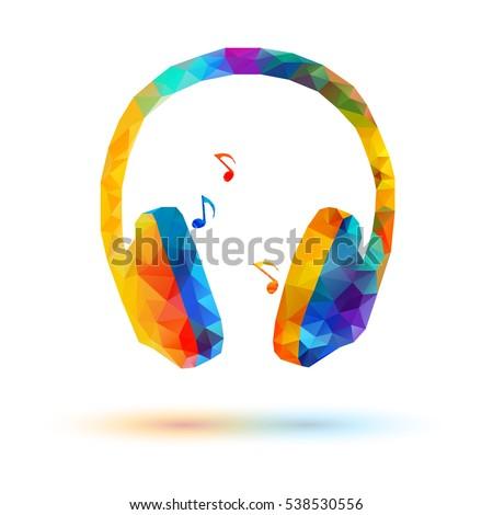 vector low poly headphone