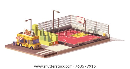 Vector low poly hot dog food truck or van and street basketball court