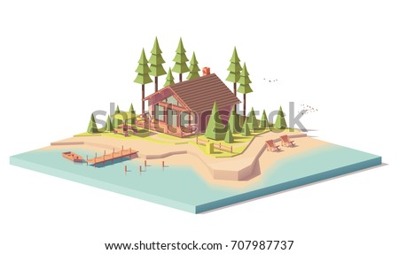 Vector low poly house in forest near the river