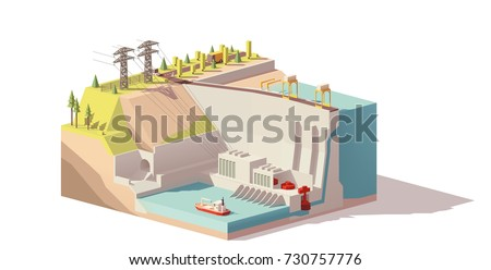vector low poly hydroelectric