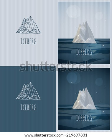 vector low poly iceberg poster