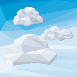Vector low poly illustration of clouds on abstract low poly sky