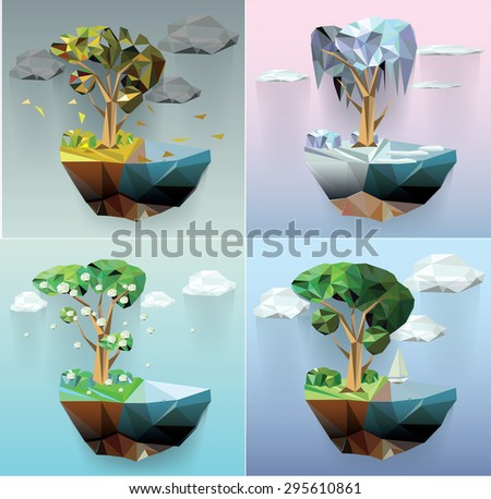 vector low poly island  and