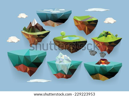 vector low poly islands set for