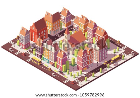 Vector low poly isometric old city center with buildings, houses, stores and church