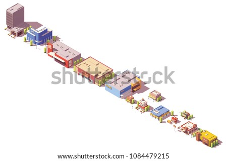 Vector low poly isometric shop, supermarket, cafe, stores, restaurants and other retail related buildings