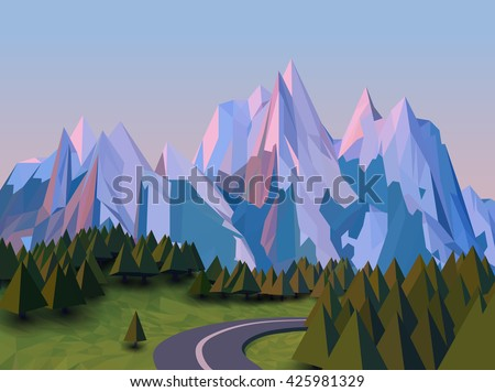 vector low poly landscape 3d