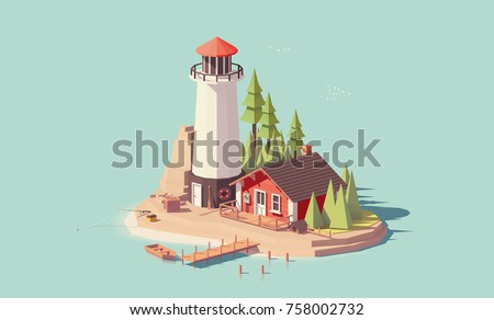 Vector low poly lighthouse tower with small buildings on the island