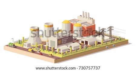 Vector low poly nuclear power plant infrastructure. Includes reactors, cooling towers, power lines and other related structures