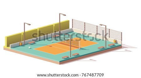 Vector low poly outdoor volleyball court