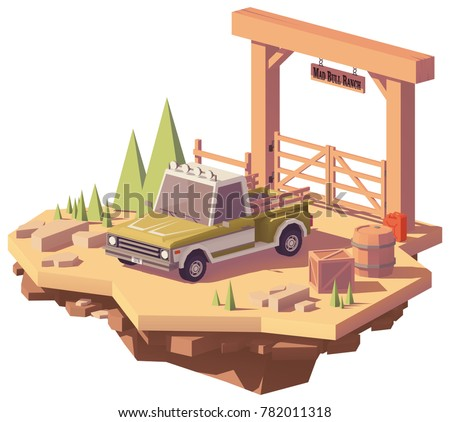 Vector Low Poly Pickup Truck Near The Ranch Or Farm Gate