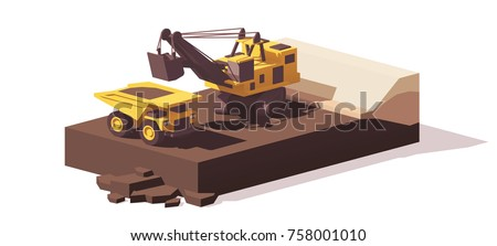 Vector low poly power shovel excavator loading mining haul truck